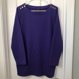 Susan Graver Purple Button Long Sleeve Shirt